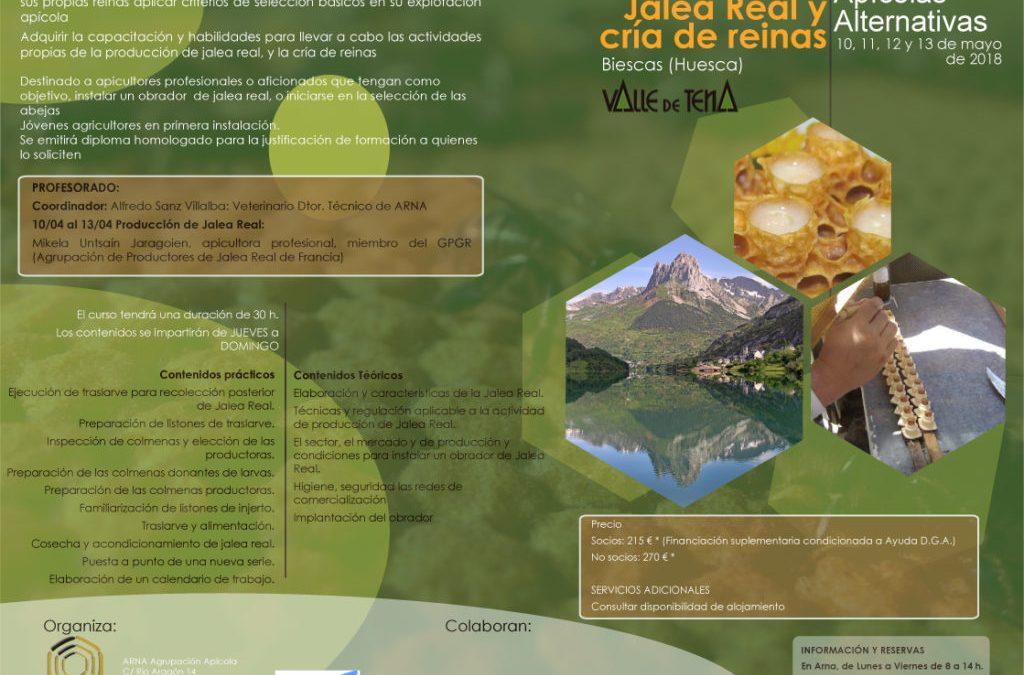 Formación sobre producción de jalea real y cría de abejas reinas en el vivero de Biescas